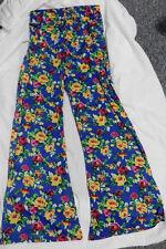 GOLDEN BLACK Womens Blue Floral Wide Leg Elastic Waist Palazoo Soft Pants Size M