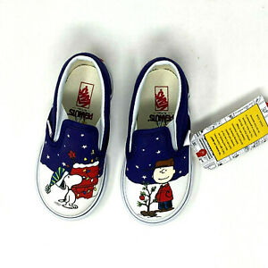 Vans Peanuts Charlie Tree Christmas Toddler Classic Slip On 7 Shoes New