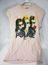 Vintage The Police T shirt 1983 North America Tour Concert Tee Tank Top 80 Pink