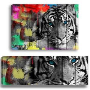 Painting Tiger Black and White Art Poster Deco Wall Portrait - TIG-02-STREET