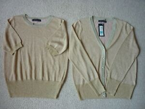 Ladies Marks and Spencer Collection Gold Copper Lurex Twin Set Size Medium BNWT