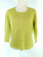 Sweater Co Jumper Green Crochet Look Loose Knit Sz L Large Casual Summer
