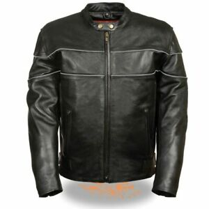 Milwaukee Leather LKM1785-Black Side Stretch Leather Jacket Reflective Piping