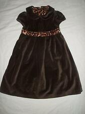 """Baby Gap Girls size 4 yrs 4T Brown Velvet """"Cats Meow"""" Leopard Trim Holiday Dress"""