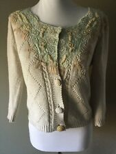 Cue and Emm Design beaded lace silk blend cardigan sweater Small Cream Button V