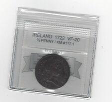 **1722** Ireland Half Penny, Coin Mart Graded**VF-20** KM# 117.1