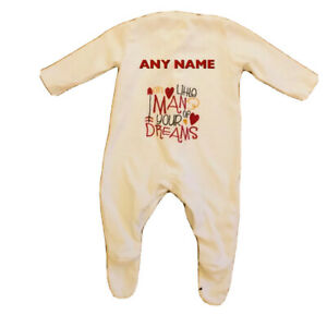 New baby boy gift personalised little man of your dreams embroidery sleepsuit