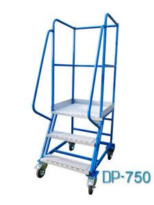 Fahrbare Podestleiter Treppen mit Rollen 2 Stufen Stahl Leiter Plattform DP750