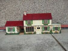 Vintage Marx Metal Doll House  2 Story With Extention