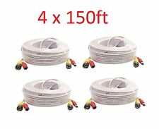 4pc 150ft BNC CCTV Video Power Cable CCD Security AHD Camera DVR Wire