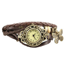 Women Vintage Brown Weave Wrap around Faux Leather Bracelet Wrist Watch a1h