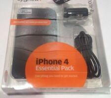 IPHONE 4 4S ESSENTIAL PACK CASE SCREEN PROTECTOR CAR CHARGER SYNC CABLE CYGNETT