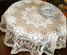 Lovely New Hand Crochet Floral Beige Round Cotton Table Cloth
