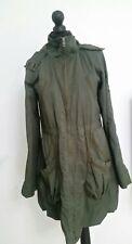 miss selfridge womens green hooded jacket size 10 38 knee length coat