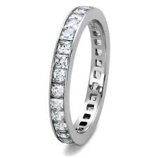 Womens Princess Cut Eternity Ring 2.8mm Stainless Steel Band Size 5 10 12