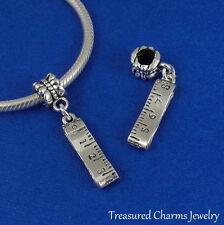 Silver TAPE MEASURE Sewing Seamstress Dangle Bead CHARM fits EUROPEAN Bracelet