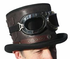 High quality 100% wool leather strapped large steam punk top hat & goggles