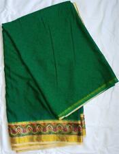 Deep Green Cream Gold Sari Indian Saree Bollywood Fabric Panel Drape