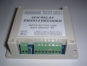 240V AC Rail or panel mounting boxed 4CH dmx512 relay Controller UK Seller