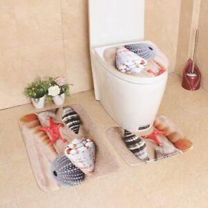 3pcs Home Non-slip Mat For Toilet Lid Cover Bath Carpet Absorbent Bathroom Rugs