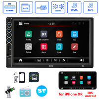 "Double 2DIN Touch Screen Car Stereo MP5 Player 7"" FM Radio Bluetooth USB AUX RCA"