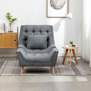 Grey Chenille Fabric Barrel Armchair Sofa Accent Chairs w/ Footstool Living Room