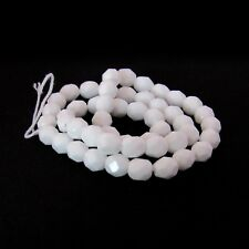 Opaque White - 50 6mm Faceted Round Czech Glass Fire Polish Beads