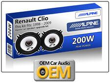 """Renault Clio Puerta Trasera Altavoces Alpine 13cm de 5,25 """"altavoz para automóvil Kit 200w Max Power"""