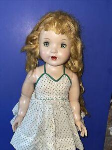 "Antique Rita Paris Sleepy Eyes Hard Plastic Jointed Walking Doll Open Mouth 27"""
