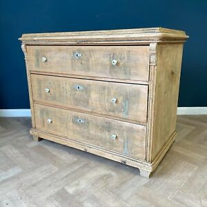 Antique Swedish Chest Of Drawers Wooden Commode Draws Pine Wood 19th Century