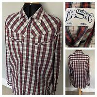 LEVI STRAUSS & CO Men's Designer Check Shirt Press Stud Modern Fit Size Large
