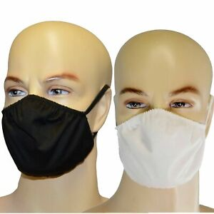 Behelfsmaske uni weiß schwarz Maske Gesichtsmaske Mundschutz Baumwolle waschbar
