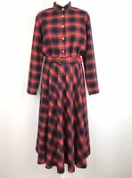 True Vintage MIDI Dress Size 12 First Avenue Tartan Flare With Wool