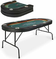 Lonabr Folding Poker Table w/Padded Rails Cup Holder Texas Casino Leisure Game