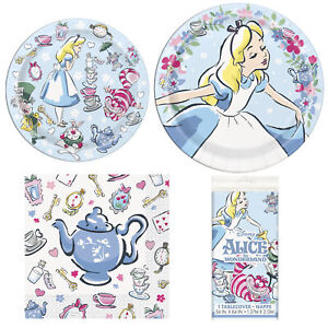 Alice In Wonderland Happy Birthday 3 Piece Party Pack and Table Cover - Serves 8