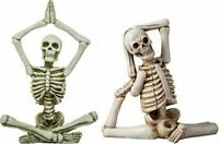 "SET OF 2 HAND PAINTED RESIN 6"" YOGA SKELETON FIGURINES HALLOWEEN TABLETOP DECOR"