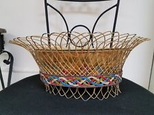 Vintage Large Tole ware Toleware basket Bowl Hand Painted Floral Flowers Braided