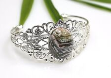 Fire Agate Stone Bracelet Filigree Silver Plated Bangle ~ Brown / Pink Cabochon