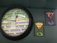 Martini Clock With 2 Martini Wall Plaques