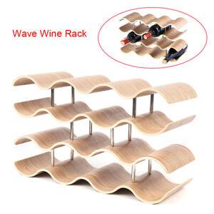 Modern 4-Layer Large-Capacity Creative Wave-Shaped Wooden Wine Display Rack Bar