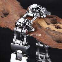 Men Chain Skull Biker Motorcycle Link Silver Tone 316L Stainless Steel Bracelet