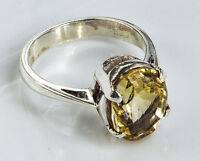 Sterling Silver Ethnic Asian Vintage Style Yellow Quartz Ring Size O 1/2 Gift