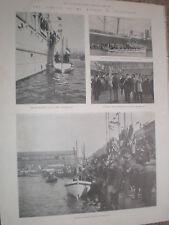 Printed photos arrival ex President Kruger South Africa Marseille France 1900