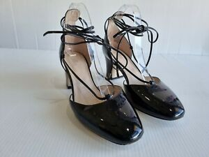 Wittner Asha Black Patent Leather Block Heel Shoes Lace Up Almond Toe Size 40