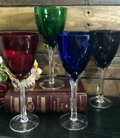 4 Set colored Wine Glasses RED blue, purple, Green Tall Clear stem Goblets 16 Oz