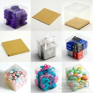 Clear Cube Favour Box PVC Chocolate Cup Cake Wedding (base available separately)