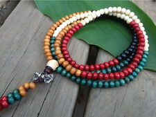 216 5*4mm 5-color Wood Prayer Beads Meditation VAJRA Dorje Mala Necklace -34""