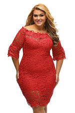 New Stunning Red Floral Lace Off Shoulder Hollow Out Plus Dress 14 16 18 20 22