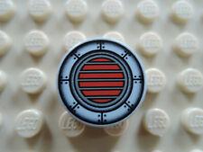 Lego 2 x Fliese 4150ps1 alt hellgrau 2x2 rund bedr. SW rot Balken 7171 7313 7314
