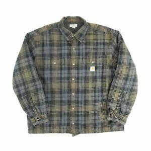 Carhartt Sherpa Lined Shirt Jacket Plaid Khaki 2XL